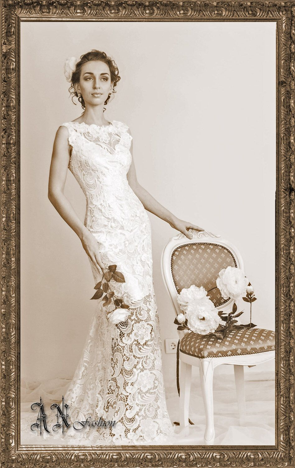 Aline wedding dress with a small train guipure dress lace wedding