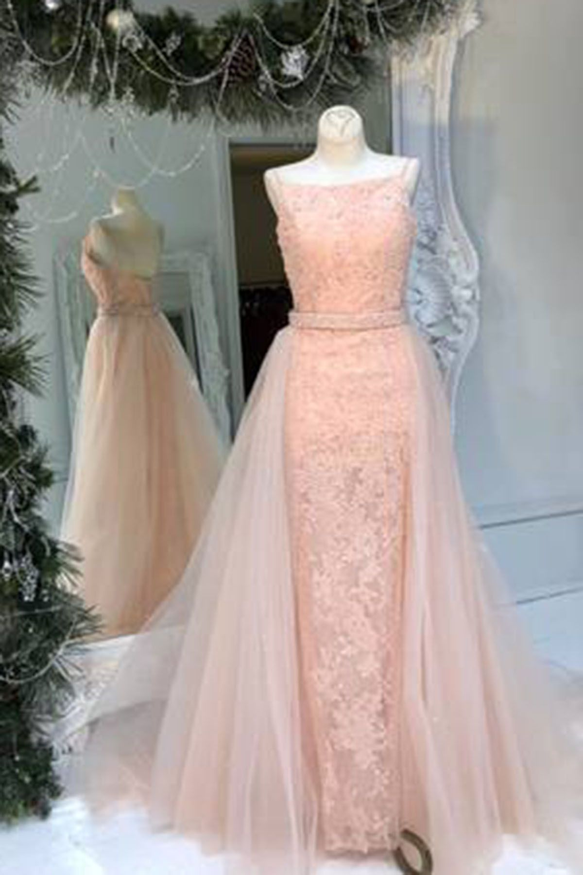 Unique blush pink lace long open back evening dress with remove ...