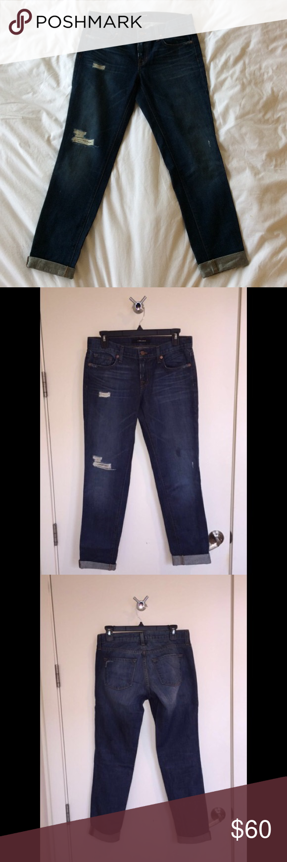 J Brand Distressed Boyfriend Jeans Aidan distressed boyfriend jeans. 100% cotton. Rips, tears, whiskers, and fading. Authentic vintage feel. Slouchy, straight-leg jeans. Worn once, like-new condition. Size 25, runs large. J Brand Jeans Boyfriend