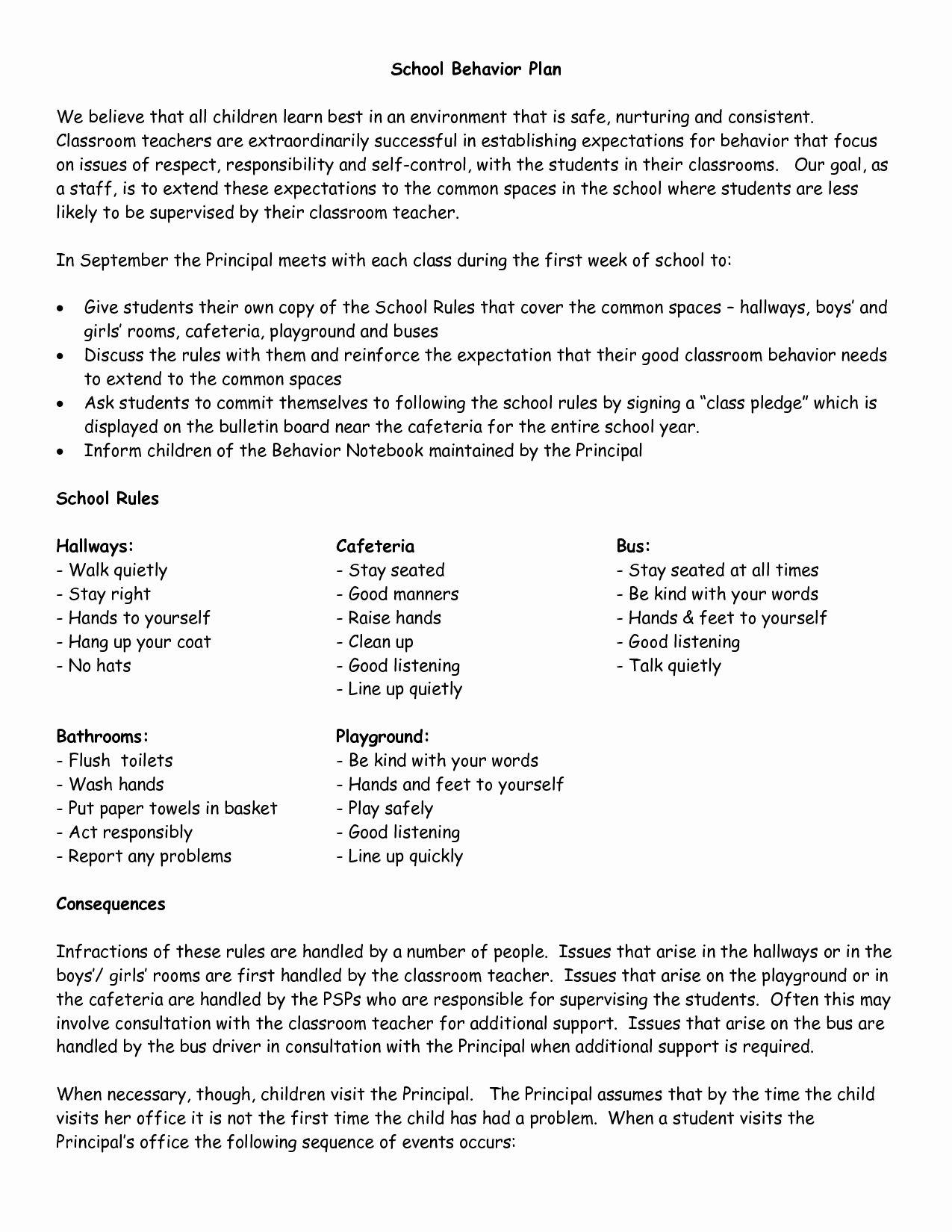 Classroom Management Plan Template Elementary Luxury School Wide Examples Discipline Plan Classroo Classroom Management Plan Behavior Plan Classroom Management