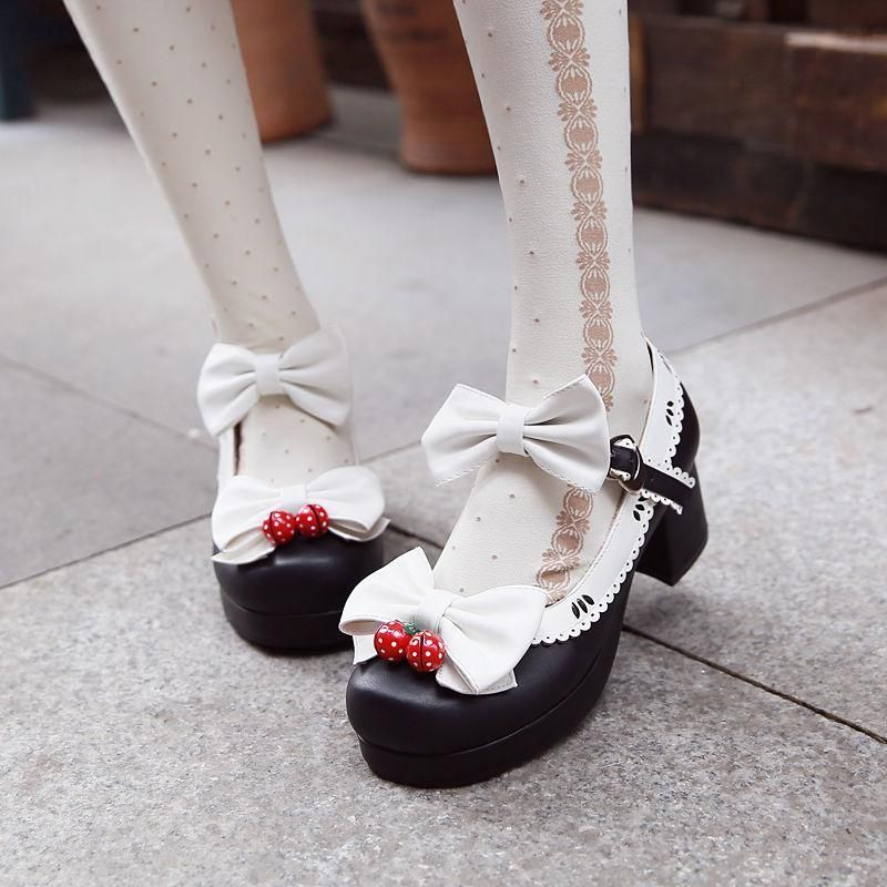 Womens Low Heels Bowknot Ankle Strap Flats British Black Lolita Creepers Shoes