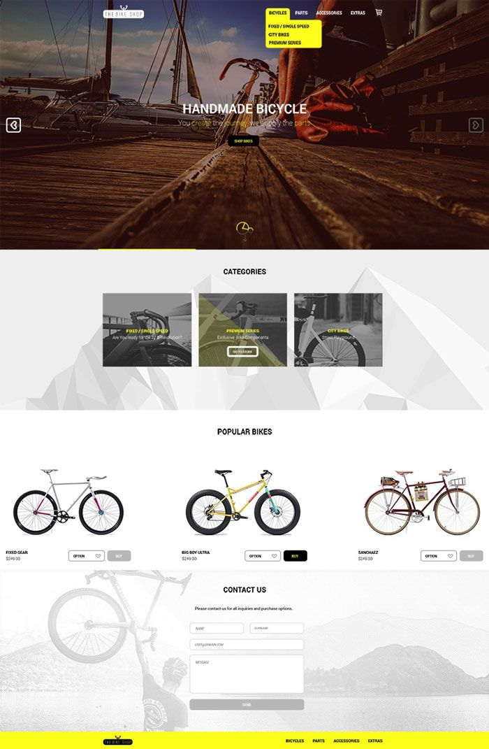 The Bike Shop E-commerce  PSD Design