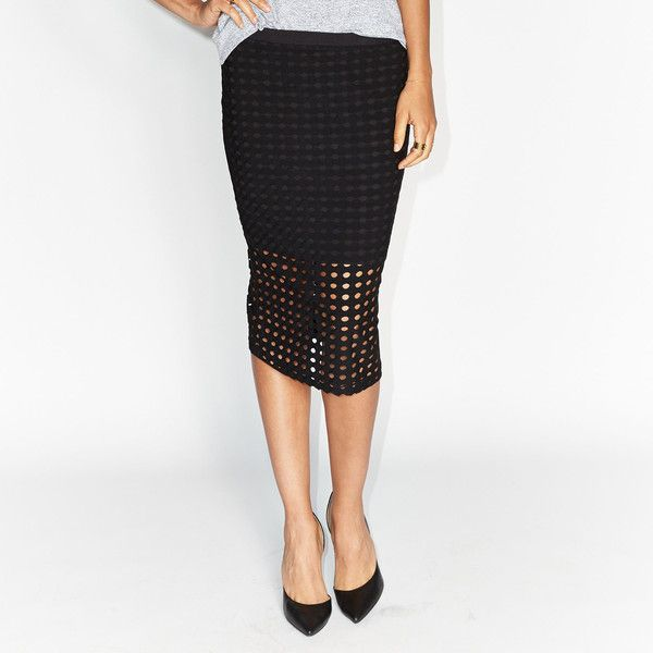 76ae64c8e0 BELLE + SKY™ Perforated Midi Skirt ($20) ❤ liked on Polyvore featuring  skirts, stretch midi skirt, stretch skirt, white midi skirt, mid-calf skirt  and ...
