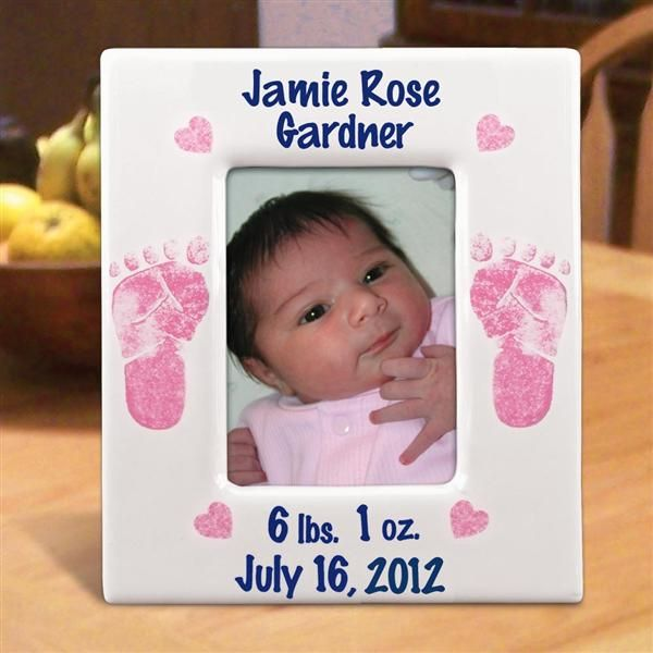 Personalized Footprints Baby Girl Ceramic Picture Frames. \
