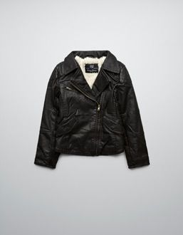 FAUX LEATHER JACKET WITH SHEEPSKIN LINING
