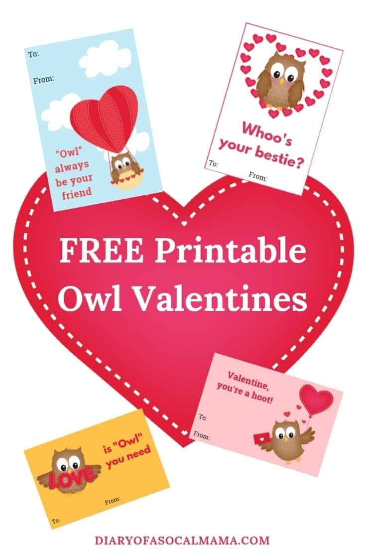Cute Owl Valentine Cards for Kids: Free Printable ...