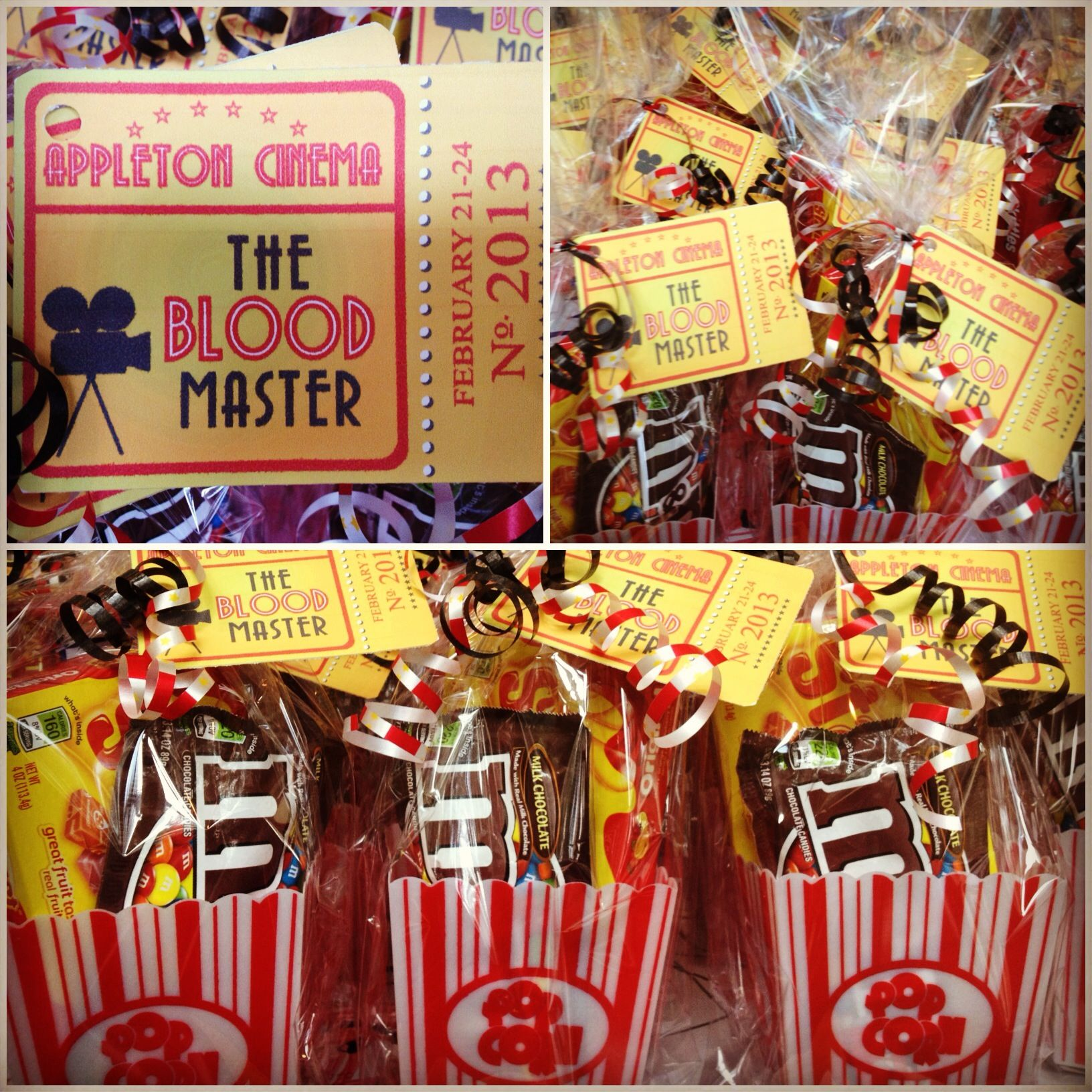 My Movie Themed Party Favors I Made For A Cast Party Movie Themed Party Movie Party Favors Hollywood Party Theme