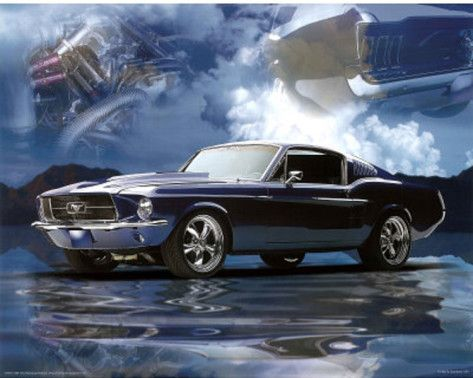 1967 Ford Mustang Fastback Art Print Poster Posters Ford Mustang