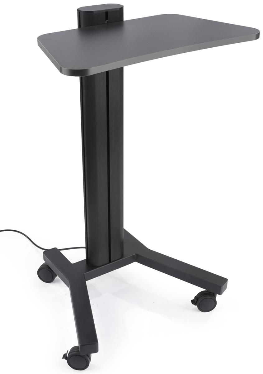 height adjustable laptop stand wheeled integrated power outlets black