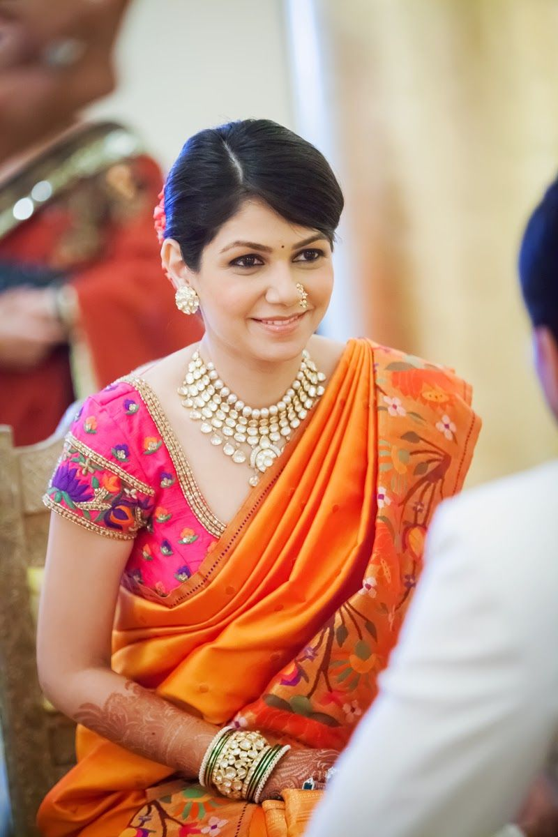 What to wear to an indian wedding pretty saree blouse and necklace