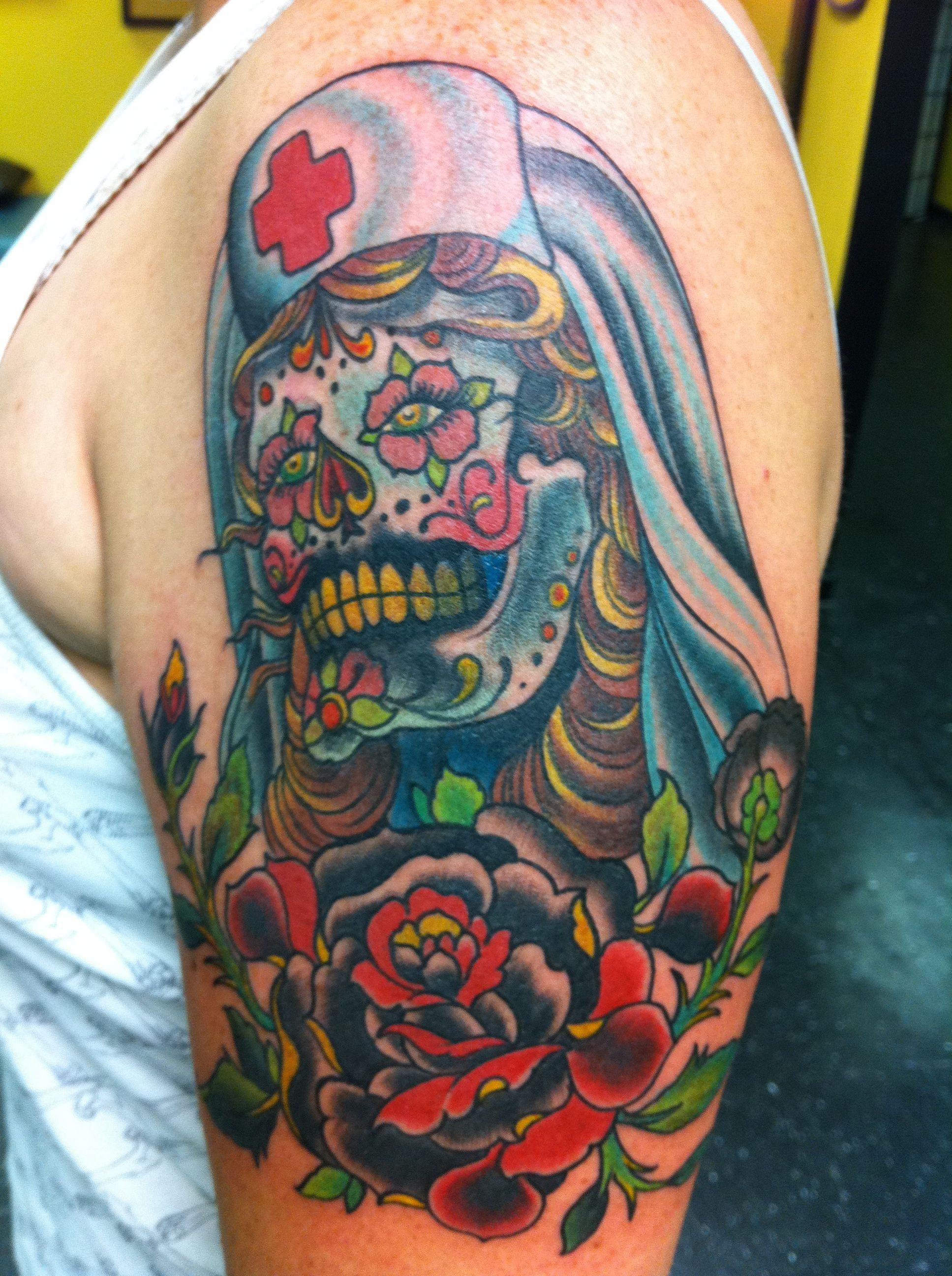 Nurse Sugar Skull Sugar Skull Tattoos Free Tattoo