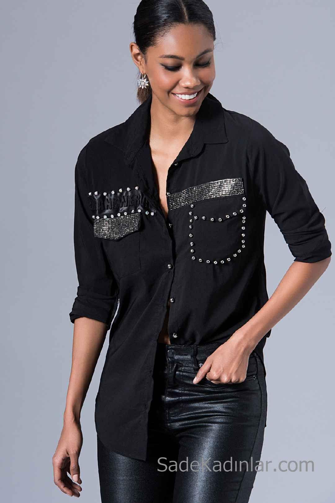 Siyah Gomlek Modelleri Uzun Kollu On Kismi Tas Islemeli Buyuk Beden Modasi Moda Stilleri Battal Boy Kiyafetler