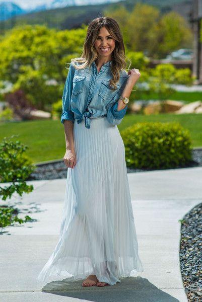 Favorite Denim Top www.sexymodest.com #summerstlyle #denimtop #fonttietop #longskirt #whiteskirt #longhair #sunnydays