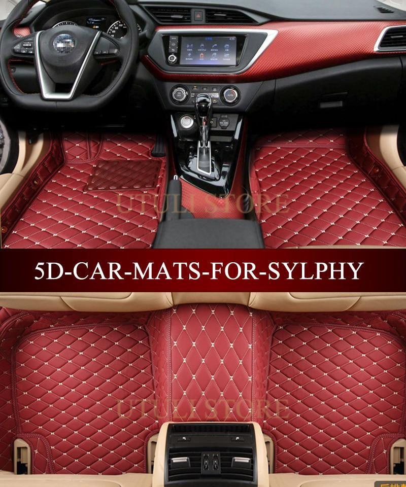 Leather Car Floor Mat Carpet For Nissan Sylphy Almera Armada