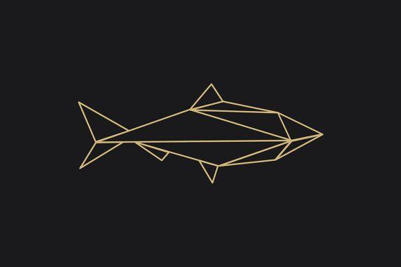 Instant Download Print Geometric Fish Black Gold Minimalist Design Ready To Print And Display 24x36 Inches 61 Geometric Decals Geometric Geometric Art