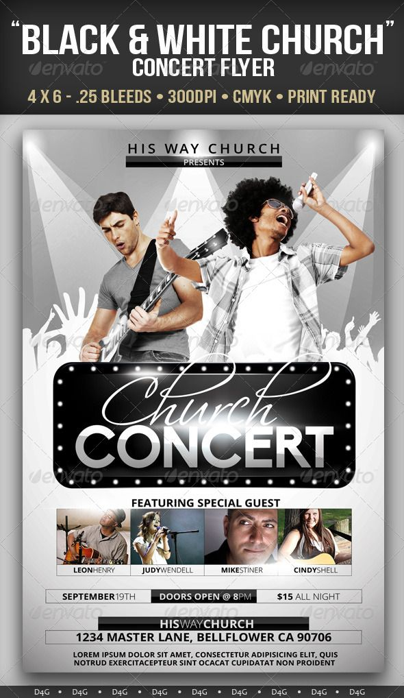 Black  White Church Concert Flyer  Concert Flyer Gospel Concert