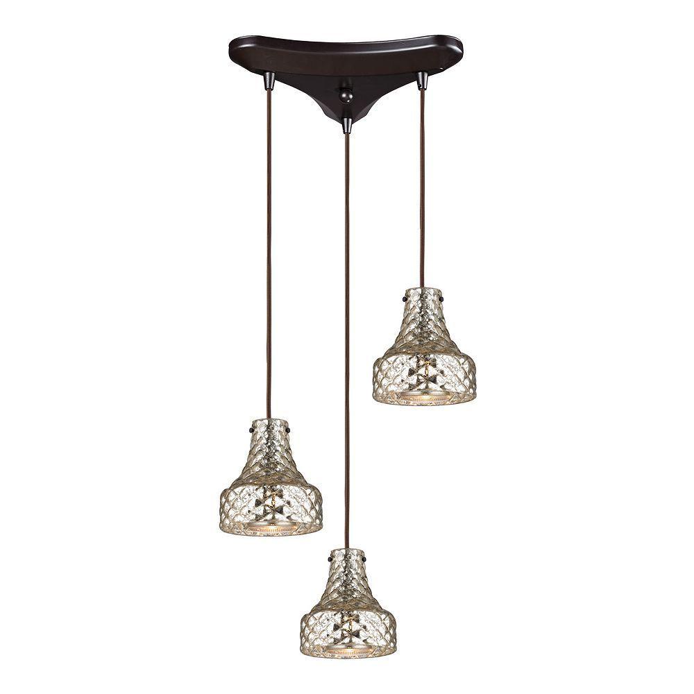 mercury glass pendant lighting. Elk Lighting Danica 3-Light Mercury Glass Pendant