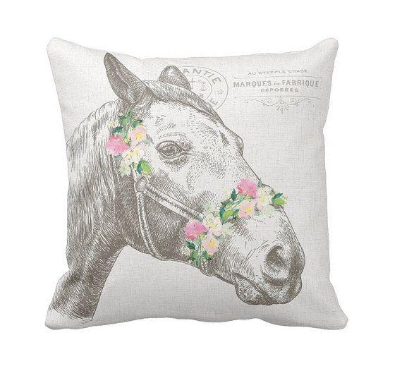 Farmhouse Decor Pastel Fl Horse Pillow Cover