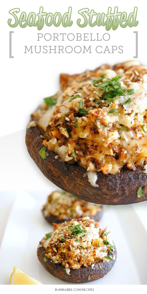 Seafood Stuffed Portobello Mushroom Caps This Impressive Appetizer Is Great For Holiday En Stuffed Mushrooms Stuffed Mushroom Caps Portobello Mushroom Recipes