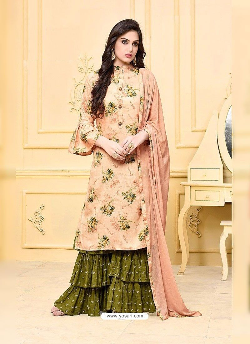 5209c4b91e734 Light Orange Digital Printed Jam Silk Cotton Designer Palazzo Suit ...