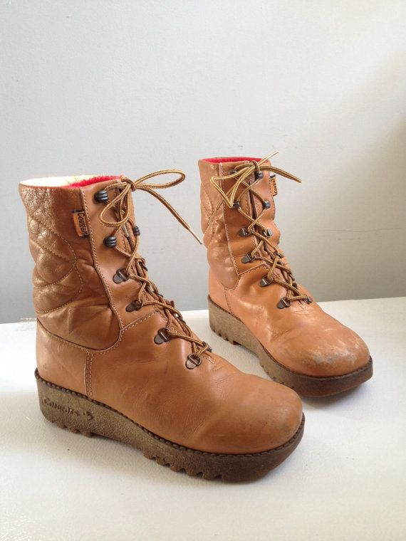 70s Cougar Hiking Boots, Womens Snow Boots, Brown Winter Boots ...