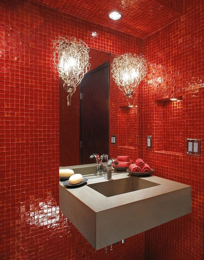 Rot im Badezimmer 21 Ideen mit intensiven Rottönen
