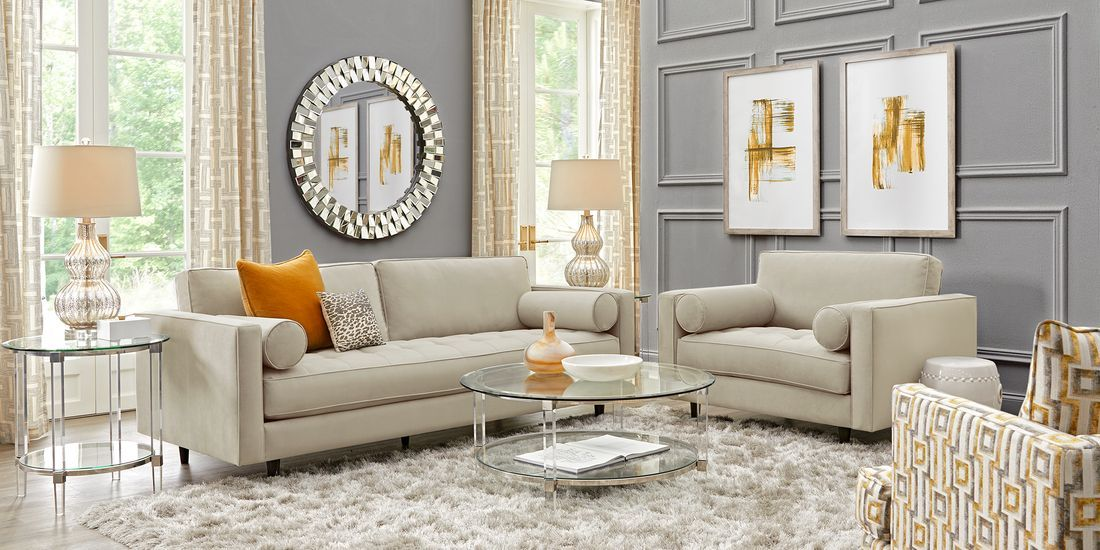 Sofia Vergara Pacific Palisades Beige Plush 5 Pc Living Room In 2020 Living Room Sets Furniture Living Room Sets Living Room Leather #sofia #vergara #living #room #set