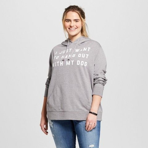 1d99fbe11fc Fifth Sun Women s Plus Size I Just Want To Hang With My Dog Graphic Hoodie  Juniors