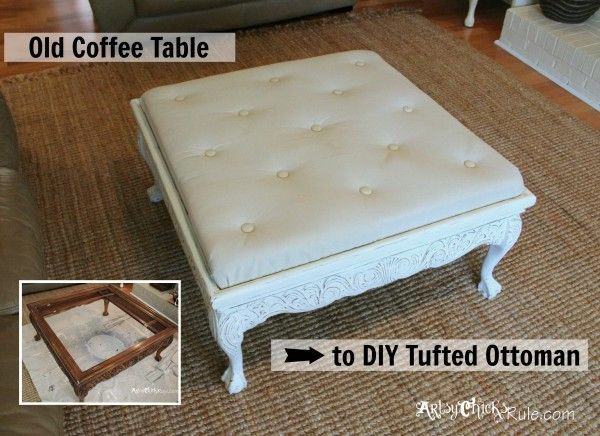 Thrift Store Coffee Table -turned- DIY Tufted Ottoman | Decoración
