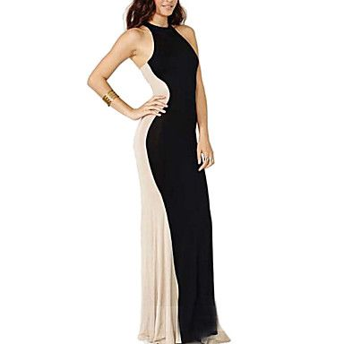 Women's Sexy Contrast Color Stitching Halter Maxi Dress – USD $ 12.99