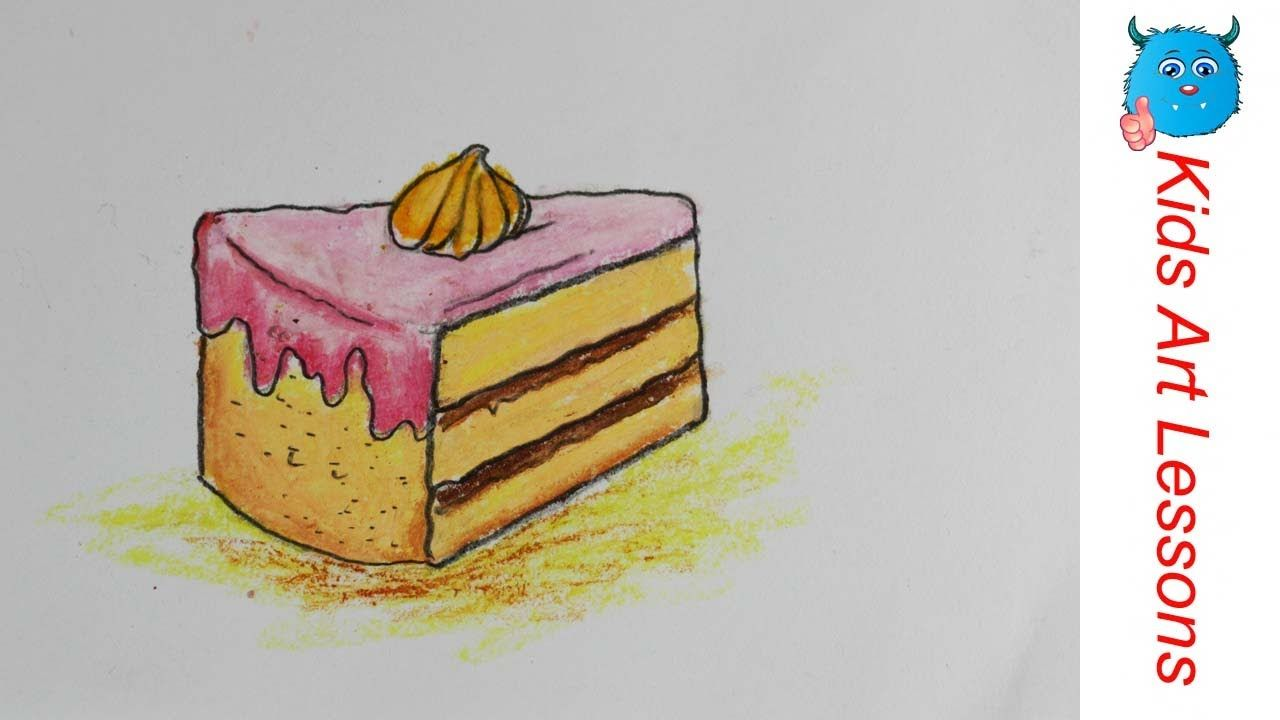 Food Drawings How To Draw A Piece Of Pastry Cake Easily In Oil Pastel S Cake Drawing Oil Pastel Food Drawing