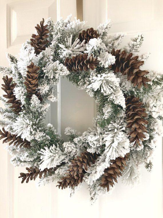 Photo of Christmas Wreath~Christmas Wreath Flocked~Christmas Wreath Front Door~Christmas Wreaths~Flocked Holiday Wreath~Wreaths~Christmas Wreath Door