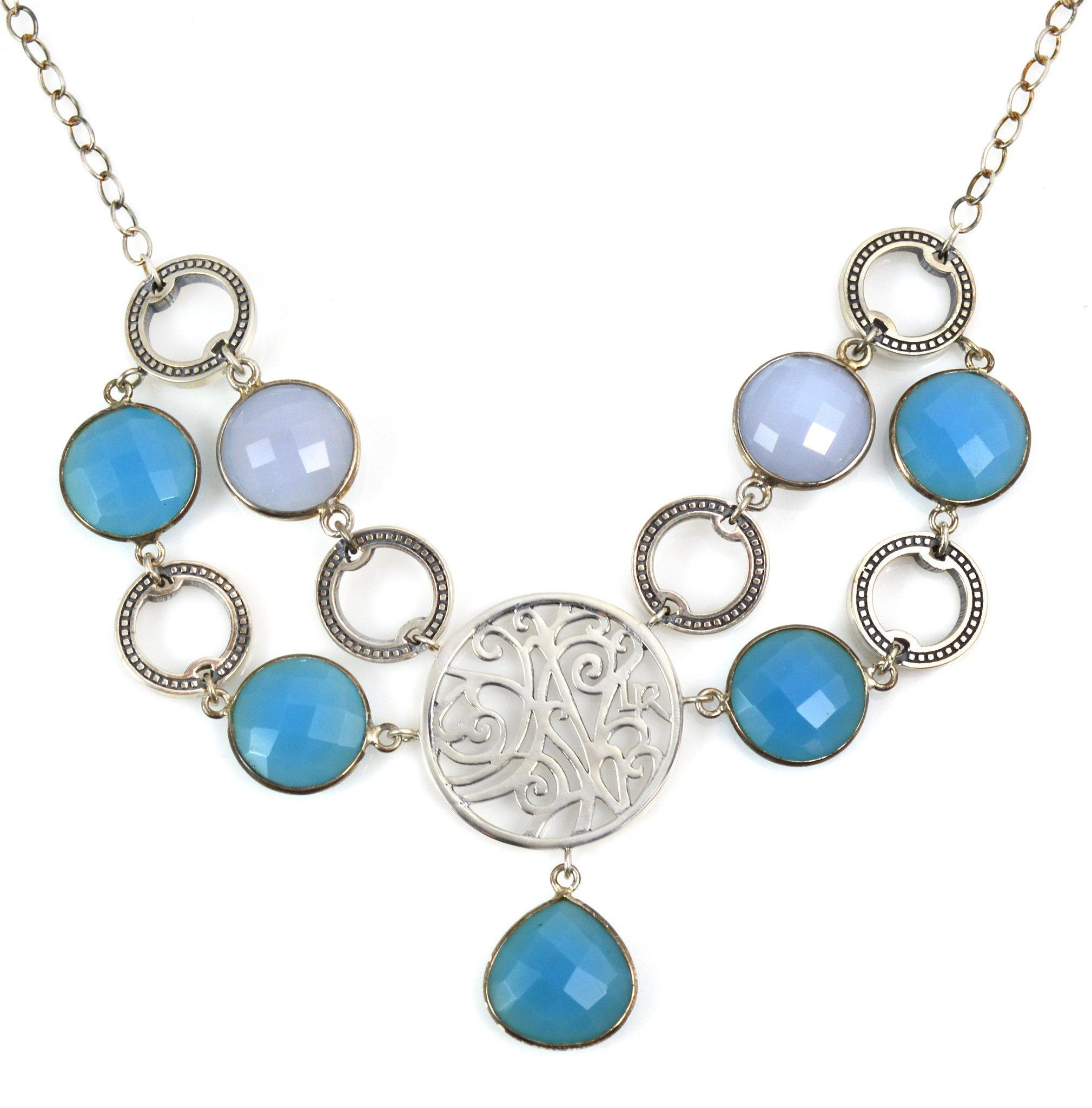 Necklace Sterling Silver Natural and Blue Chalcedony