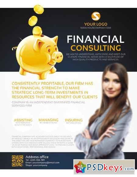 Financial Consulting Flyer Psd Template + Facebook Cover | Ads