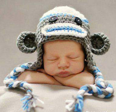 Newborn large baby beanie hat girls boys crochet monkey owl teddy photo prop ebay