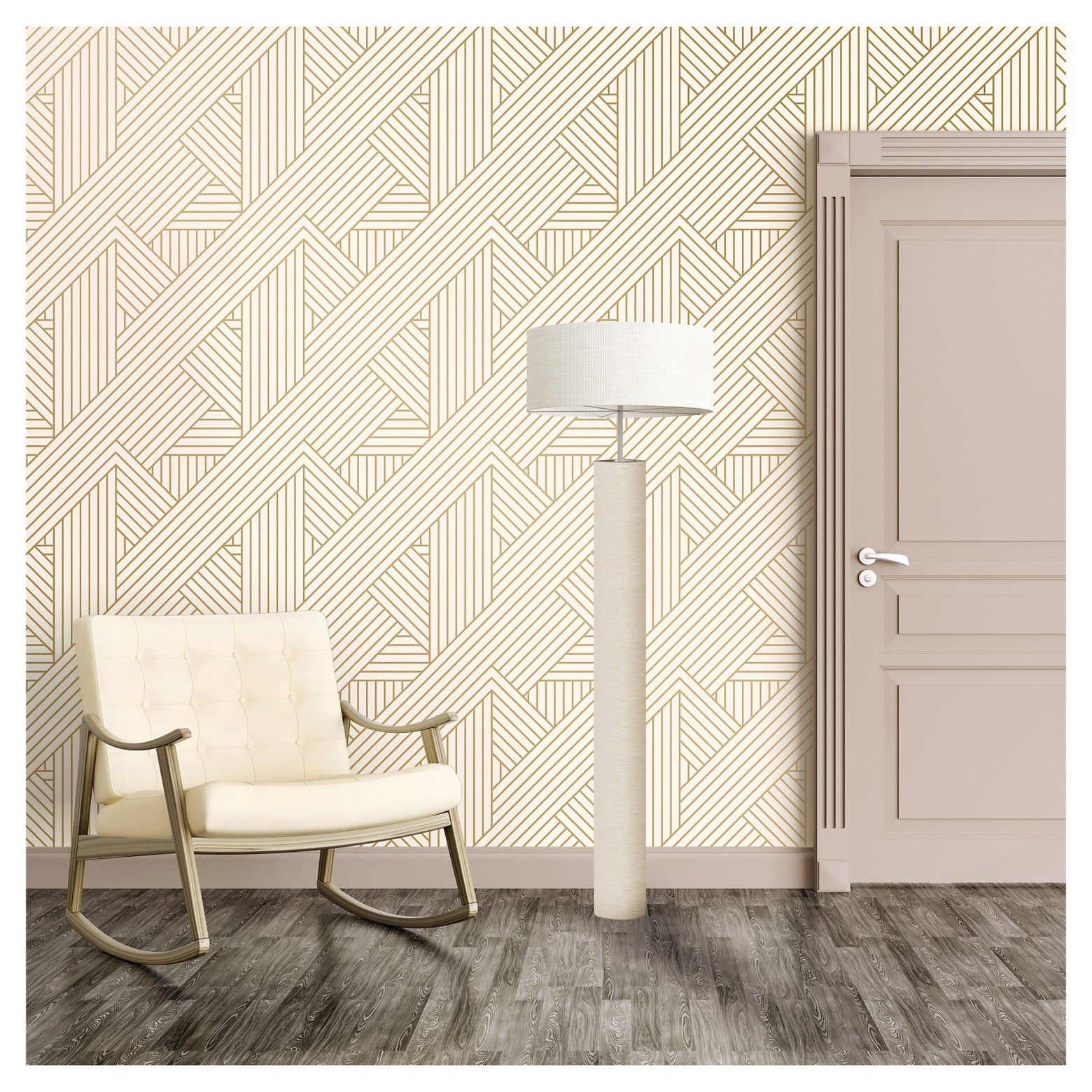 Ribbon Peel And Stick Wallpaper Gold/Ivory Project 62