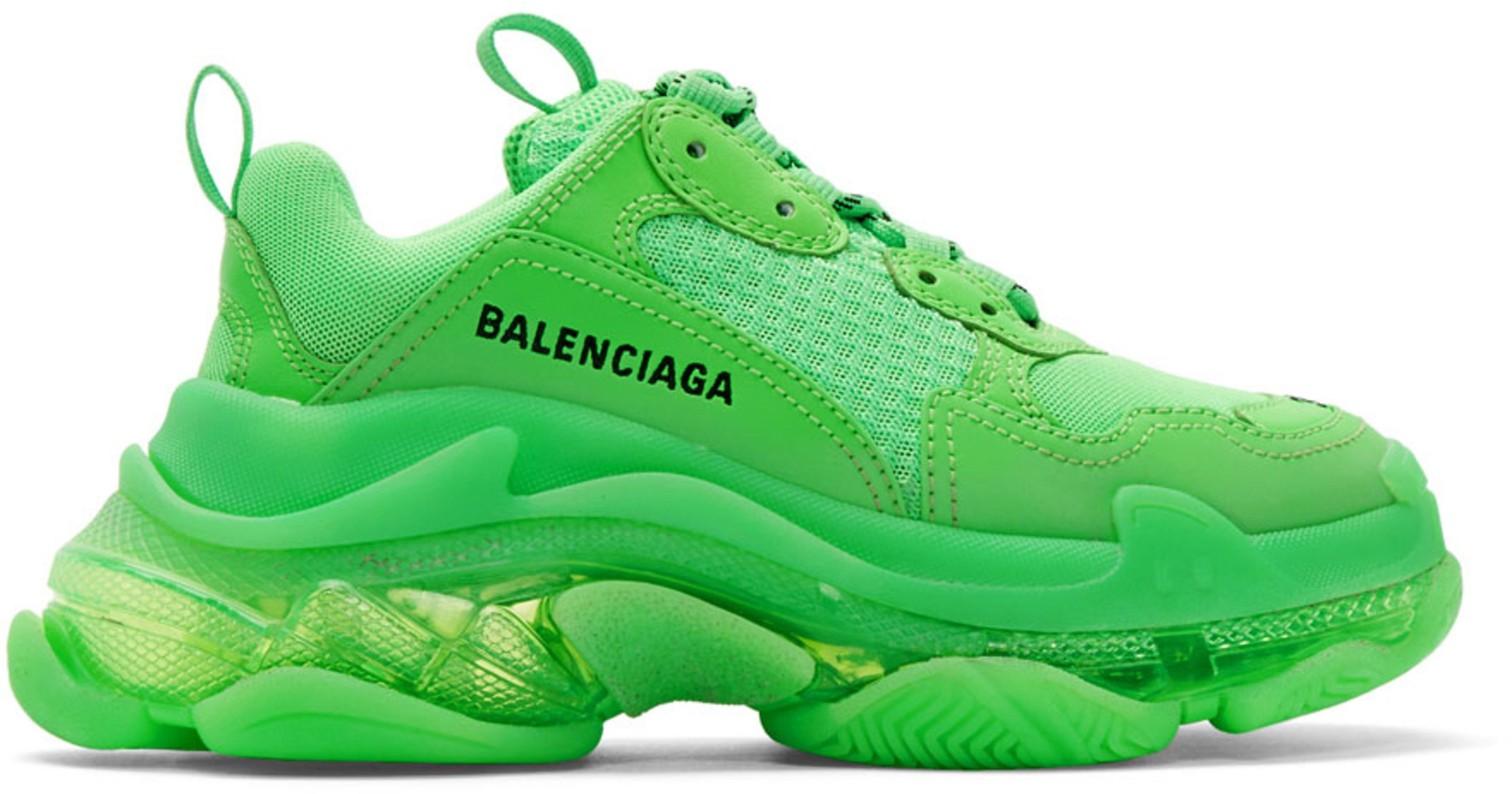Green Triple S Clear Sole Sneakers