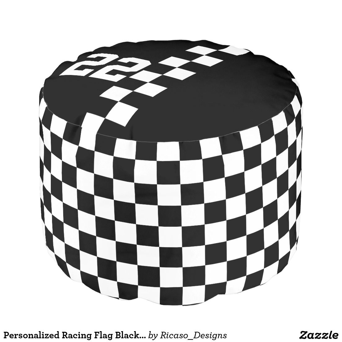 Personalized Racing Flag Black And White Pouf | Large furniture ...