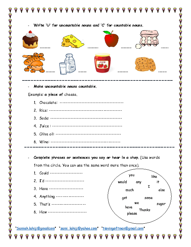 Countable And Uncountable Food Nouns Worksheet Nouns Uncountable Nouns