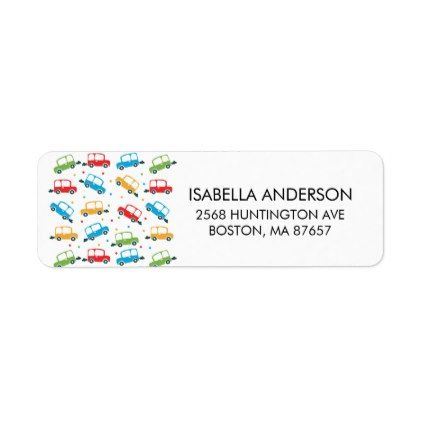 Bright Cars Baby Shower Address Label