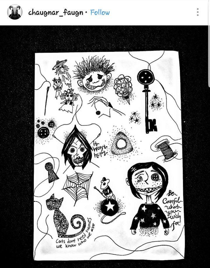 Coraline Inspired Tattoo Flash Sheet Tattoo Flash Sheet Coraline Tattoo Tim Burton Tattoo