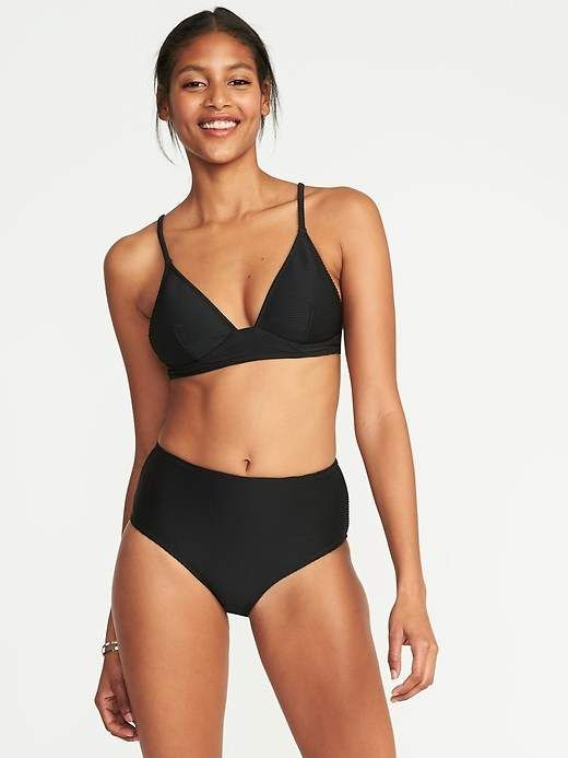 99857694047 Old Navy Textured Triangle Bikini Top for Women