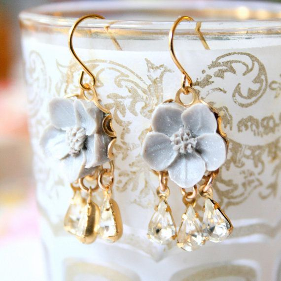 Little Gray Flower Romantic Chandelier Earrings