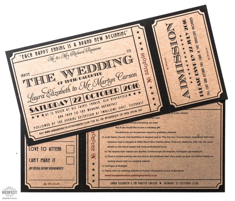 Ticket Wedding Invitations Movie Theme Wedding Movie Ticket Wedding Invitations