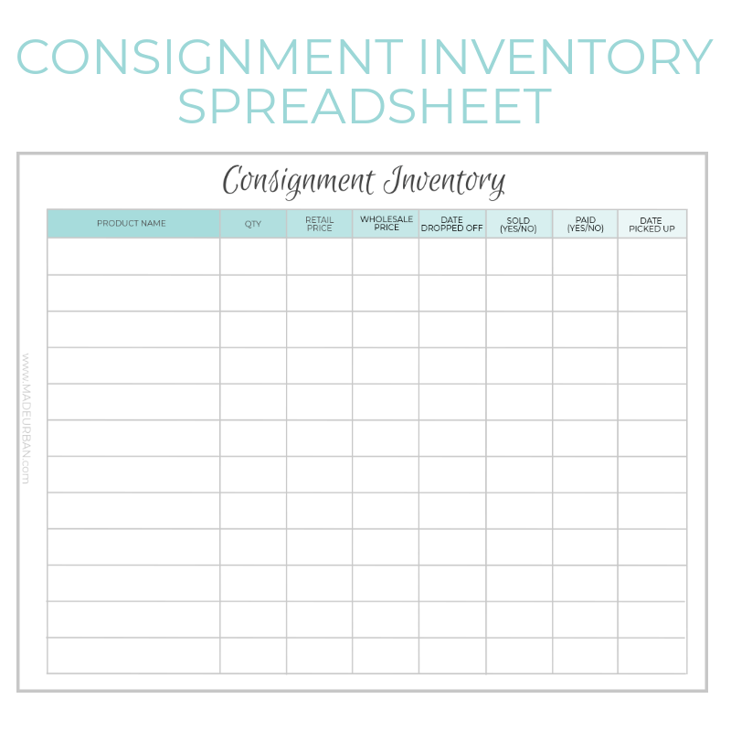 Consignment Inventory Tracking Spreadsheet Made Urban Inventory Printable Business Tracker Inventory Organization