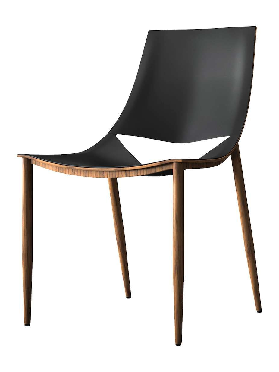 Modloft Dining Chair Minnie Mouse High Sloane Leather Wrapped Reconstituted Steel Frame Features A