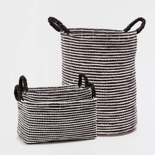 BLACK AND WHITE STRIPED BASKET WITH HANDLES | home ...