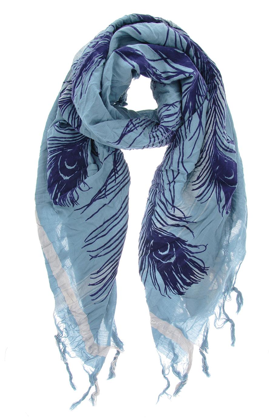 bc709c799b69b LEIGH & LUCA PEACOCK Denim Blue Flock Scarf - ACCESSORIES   SCARVES   Wool  Scarves   PRET-A-BEAUTE.COM