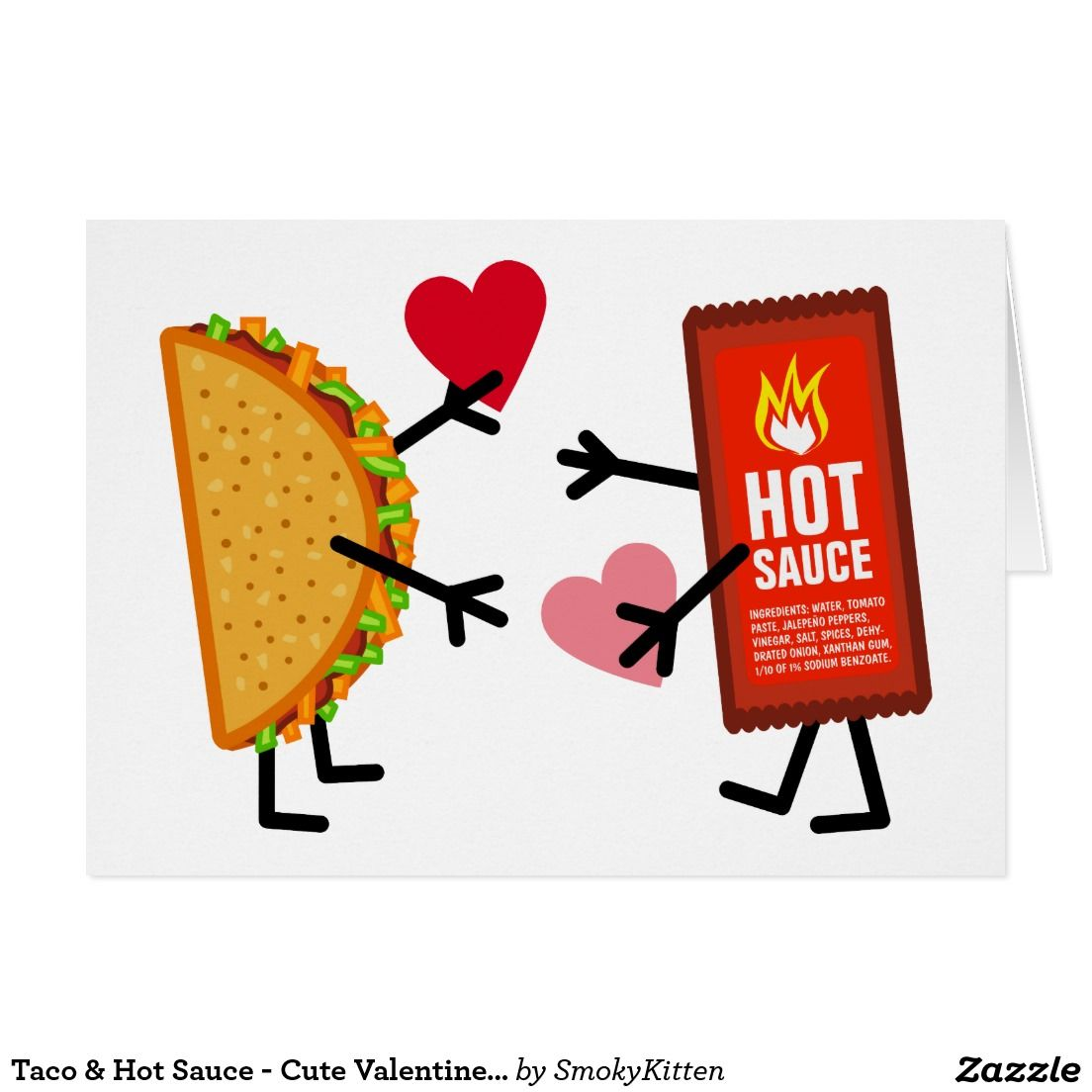 Taco Hot Sauce Cute Valentine S Day Hearts Holiday Card Zazzle Com Valentines Day Hearts Holiday Cards Cards