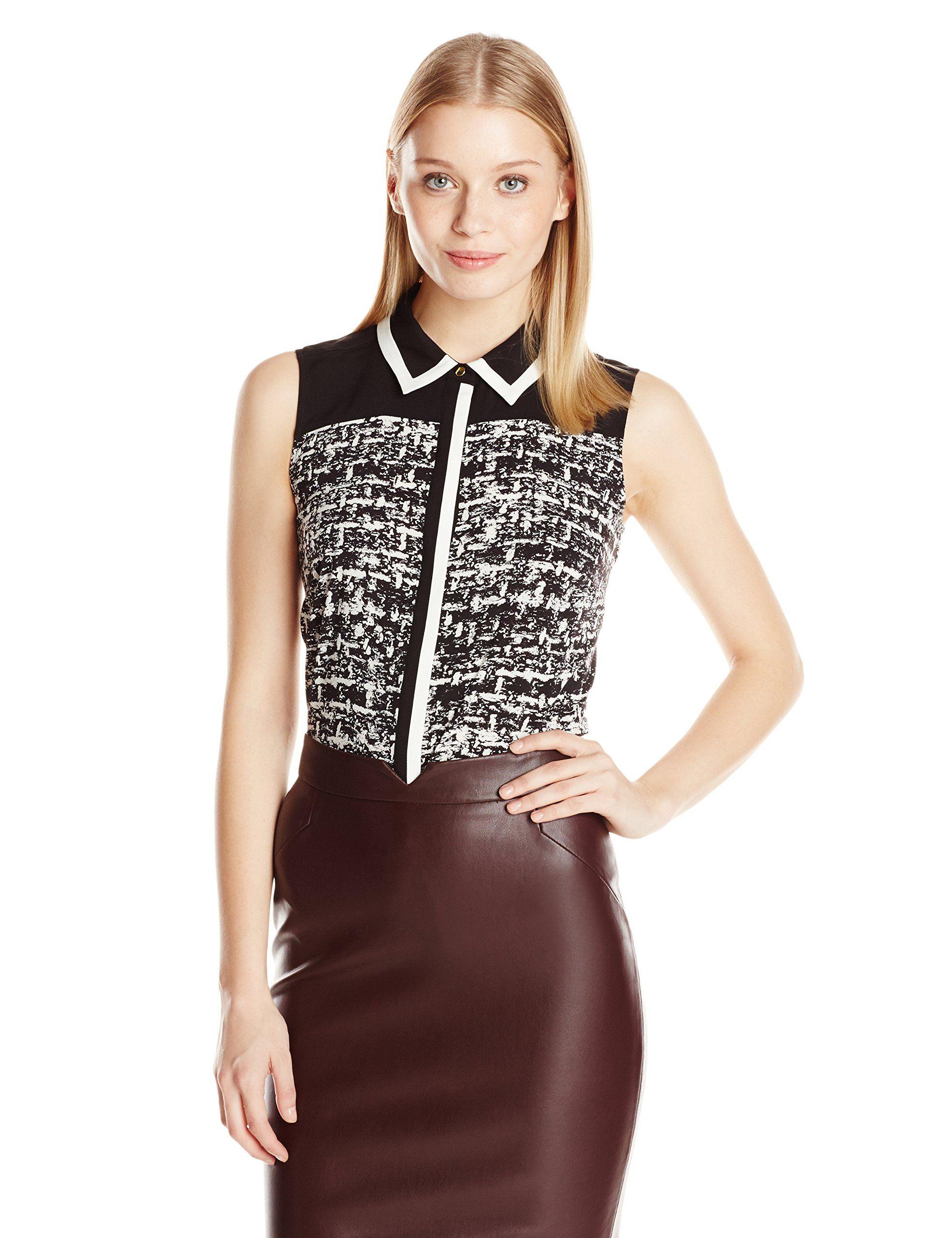 calvin klein women's fashion woven top at amazon women's clothing